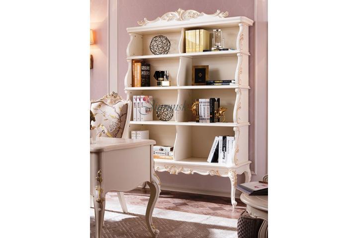 Шкаф книжный Белый с золотом SH 330