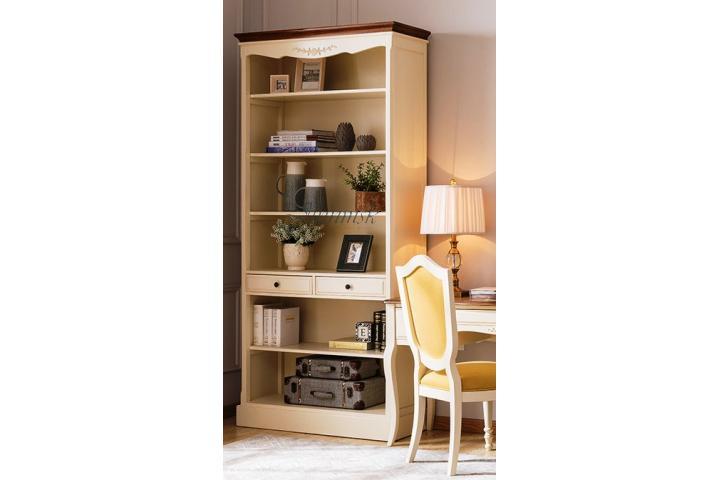 Шкаф книжный открытый Молочный/Итальянский орех SH 331