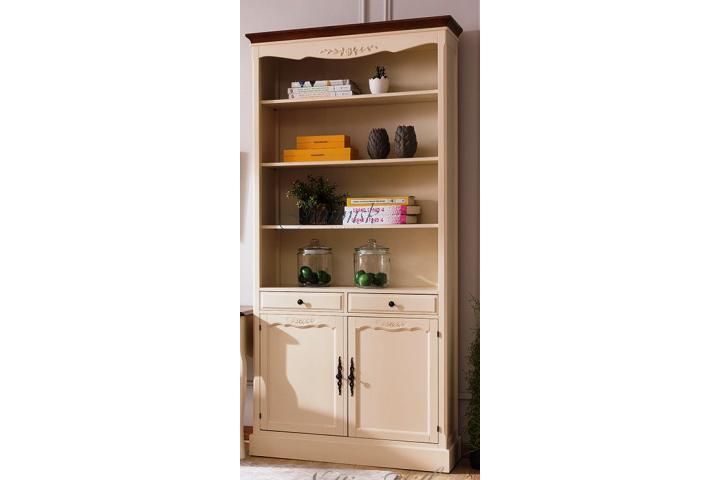 Шкаф книжный с двумя отделениями Молочный/Итальянский орех SH 332
