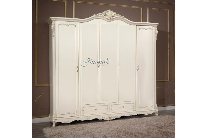 Шкаф (5 дв.) без зеркал Молочный с золотом SH 304