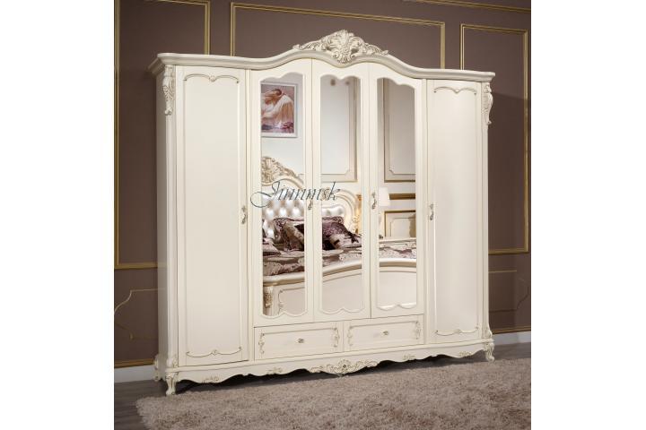 Шкаф (5 дв.) с зеркалами Молочный с золотом SH 305