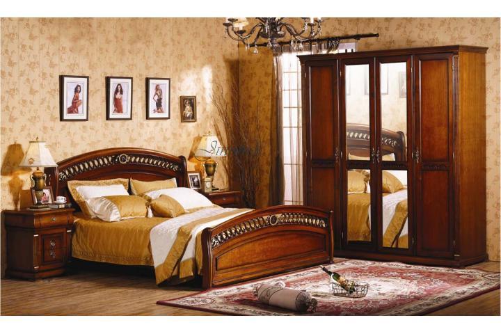 Спальня (кров.160х200, 2-е тумбы, туал. стол с зерк.+ банкетка, шкаф 4-дв. с зерк) K 329